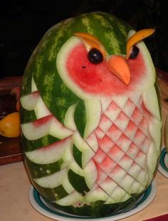 Watermelon Owl #watermelons, #owls, #art, https://apps.facebook.com/yangutu/