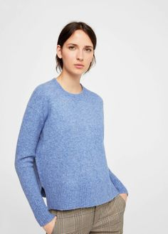 Mango Ribbed Panels Sweater China Blue Size M-L UK 10 12 rrp 35.99 DH182 OO a90ea0dcb