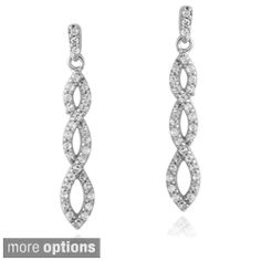Icz Stonez Silver Cubic Zirconia Infinity Dangle Earrings