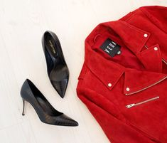 Sergio Rossi black pointed pump, VEDA red suede moto jacket