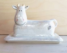 Cow Butter Dish - Butter Dish With Lid - Ceramic Butter Dish - Kitchen Decor - Housewarming Gift - Cow - Functional Ceramics - Tableware by BigGrayHorse on Etsy