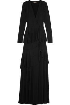 ROBERTO CAVALLI Tiered Stretch-Jersey Wrap Gown. #robertocavalli #cloth #dresses