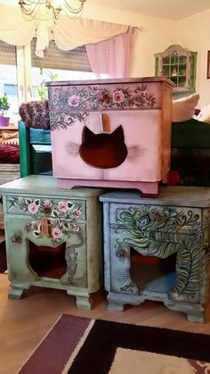 cute cat house :D Cat Furniture, Woodworking Furniture, Furniture Plans, Cat Room, Gatos Cat, Cat Decor, Office Table, Cat Condo, Cat People