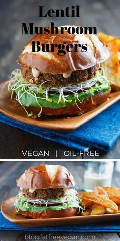 Savory Lentil-Mushroom Burgers: It's possible to make your own veggie burgers! These mushroom and lentil burgers taste delicious and are made with wholesome ingredients. No added oils! Lentil Recipes, Mushroom Recipes, Beef Recipes, Whole Food Recipes, Vegetarian Recipes, Healthy Recipes, Vegan Recipes No Soy, Mushroom Veggie Burger, Vegan Lentil Burger