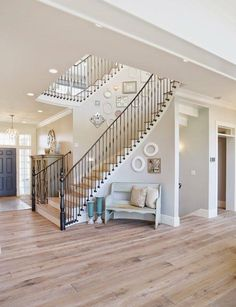 Hate the decor - layout of stairs in foyer is beautiful! Paint Colors For Home, Teal Paint Colors, Greige Paint Colors, House Colors, Wall Colors, Revere Pewter Benjamin Moore, Passive Sherwin Williams, Sherwin Williams Gray, Flooring Tiles