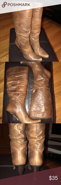 "Nine West) brown leather boots 👢 Nine West brown leather boots.. 3 1/2"" inches heel height) 14 1/2"" inches of calf) ( size 7 M ) ( sorry no more discount 😐) Nine West Shoes Heeled Boots"