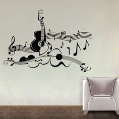 Love For Guitar Wall Decal by ColorfulWalls on Etsy, $55.00
