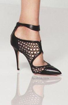 Monique Lhuillier Ankle High Mesh Sandals Resort 2014 #Shoes #Heels