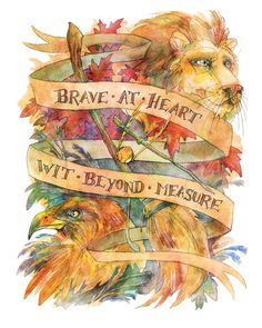 "Gryffindor & Ravenclaw Watercolor Illustration 8"" x 10"" Colorful Hogwarts Art Print"