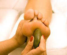 Reflexology with hot stone, all the rage! And feels AMAZING!