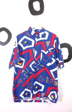 90s Crazy Abstract Geometric Print Button Down by badatpettingcats, $24.00