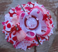 Valentine's Day Owl Be Your Valentine 5 Inch Stacked Boutique Bow Large Hair Bows, Diy Hair Bows, Head Bands, Crown Headband, Boutique Bows, Cute Bows, Hairbows, My Princess, Cute Crafts