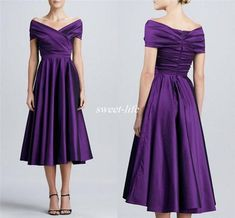 Purple Tea Length Mother of the Bride Dresses with Short Sleeves 2016 Off Shoulder Plus Size Long Women Formal Party Dresses For Wedding Mother Of The Bride Gown, Mother Of Groom Dresses, Bride Groom Dress, Mothers Dresses, Bride Dresses, Bride Suit, Tea Dresses, Tunic Dresses, Mother Bride
