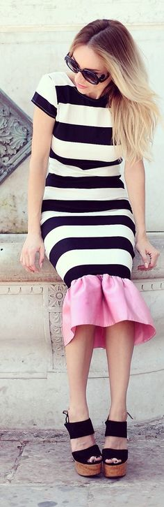 Rock And Roses Black And White Stripe Pink Ruffle Hem Bodycon Midi Dress by Rock & Roses