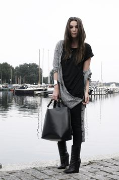 all I need.  a black dress, grey sweater and big black bag. it's my everyday.