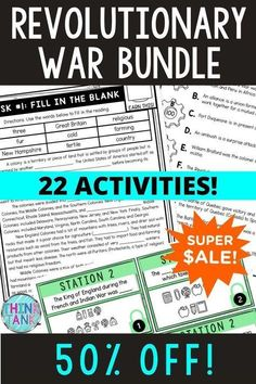 Grab everything you need for your Revolutionary War Unit. This American Revolution BUNDLE includes 22 different printable or digital activities. From the Boston Tea Party to the Battle of Bunker Hill, there's something for every type of learner! Upper Elementary and Middle School reading comprehension #RevolutionaryWar #ThinkTank #USHistory #HomeSchool #ReadingPassages #4thgrade #5thgrade #6thgrade #7thgrade #CloseReading #MiddleSchool #UpperElementary #TeachersPayTeachers 4th Grade Social Studies, Social Studies Activities, History Activities, Middle School History, Middle School Reading, Reading Passages, Reading Comprehension, Types Of Learners, Upper Elementary Resources