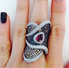 Wendy Yue Tourmaline and Diamond ring by thejewelerydiaries on instagram