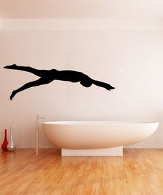 Vinyl Wall Decal Sticker Swimmer Silhouette