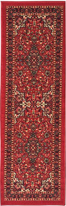 Home Beyond 20 X 60-Inch Runner Rug Hallway Carpet Entry Rug with Non-Skid Rubber Backing Red