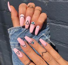 Summer Acrylic Nails, Best Acrylic Nails, Acrylic Nail Art, Light Pink Acrylic Nails, Acrylic Nail Designs Coffin, Shellac Designs, Long Nail Designs, Summer Nails, Clear Acrylic