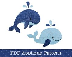 Whales Applique Template PDF Pattern Includes Jumping Whale and Swimming Whale… Applique Templates, Applique Patterns, Applique Quilts, Applique Designs, Quilt Patterns, Embroidery Designs, Owl Templates, Bag Patterns, Clothes Patterns