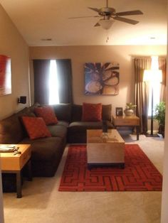 37 Small and modern apartment living room interior design Living Room Decor Brown Couch, Living Room Orange, New Living Room, My New Room, Interior Design Living Room, Living Room Designs, Living Room Decor Orange And Brown, Barn Living, Cozy Living