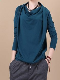 Blue cotton piles collar long sleeve sweaters