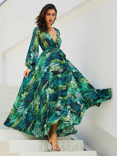 388cfbf05dc V-Neck Lantern Sleeve Plant Print Vacation Women s Maxi Dress
