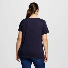 a78310b23e7 Women s Plus Size V-Neck T-Shirt - Ava   Viv™ - Xaviar Navy 4X