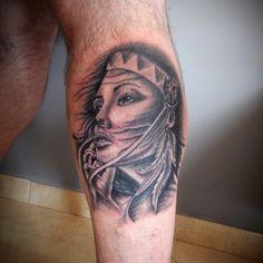 Native american indian girl tattoo by john vogdo                              …