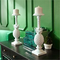 Set of 2 Pineapple Pillar Candle Holders