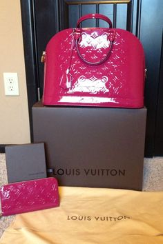 """Today we are celebrating our two year engagement anniversary!  So in love with my presents! Louis Vuitton Alma GM and Zippy Wallet in Indian Rose!  He is the sweetest man ever!!!  Can't wait until the day we say """"I do."""" ♥ ♥"""