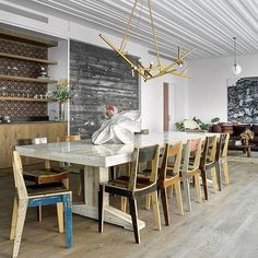 The coolest dining room designed by @thefutureperfect.  Listing c/o: @thecorcorangroup  Address: 12 Warren Street
