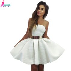 Gagaopt 2016 Summer Dresses Strapless Princess With Belt White Ball Gown Dress Mini Party Dresses Bodycon Vestido Robes