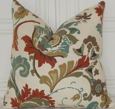 Richloom Cream Teal Brown Campieone Aspen 18x18 Floral Throw Pillows Accent Cushion Cover. $28.00, via Etsy.