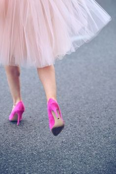 pink heels and skirt