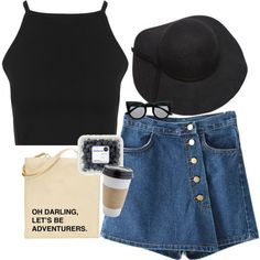 Outfit Ideas - Sunshine Outfit Ideas with Miss Selfridge Black Top, Etsy Bag, Blackfive Hat and Freyrs Sunglass