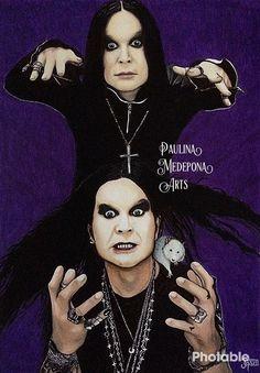 Ozzy Osbourne mixed media portrait by Paulina Medepona