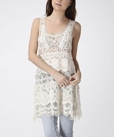 Take a look at the CottyOn Beige Floral Crocheted Scoop Neck Tunic on #zulily today!