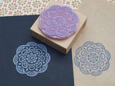 doily lace handcarved stamp by  Nettis STAMPelART
