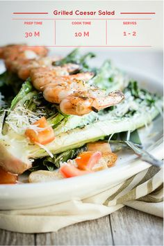 Grilled Caesar Salad with Shrimp, easily made on a hot grill | Foodness Gracious