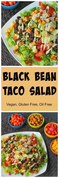 This Black Bean Taco salad is so quick and easy - perfect for a weeknight meal. It's loaded with romaine lettuce, black beans, corn, red bell peppers, tomatoes, avocado, and crunchy roasted chickpeas, all drizzled with a delicious dairy free southwest ranch dressing. Gluten free and oil free! #vegan #glutenfree #tacosalad #meatless #vegetarian #oilfree #dairyfree #weeknightmeal