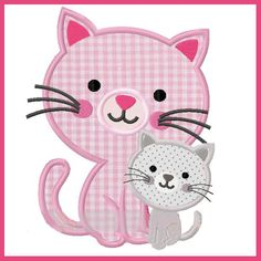 Applique and Embroidery Originals Digital Design 1668 Kitty Mommy & Me for Mother's Day for Embroide Baby Applique, Machine Embroidery Applique, Applique Patterns, Applique Designs, Embroidery Designs, Patch Aplique, Cat Quilt, Animal Quilts, Thread Painting