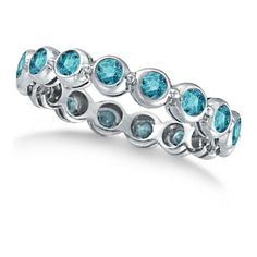 Allurez Bezel-Set Fancy Blue Diamond Eternity Band 14k White Gold... ($1,350) ❤ liked on Polyvore featuring jewelry, rings, 14k diamond ring, anniversary band rings, blue wedding rings, white gold wedding rings and diamond eternity rings