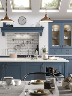 Blue shaker kitchen in modern extension. Breakfast styling on dining table. Open Plan Kitchen Dining, Barn Kitchen, Green Kitchen, New Kitchen, Kitchen Interior, Kitchen Decor, Kitchen Post, Kitchen Ideas, Modern Shaker Kitchen