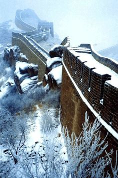 **The Great Wall in winter, China I hate the cold, but I'd love to see this up close