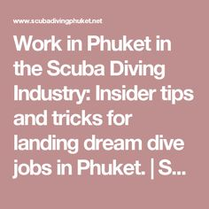 Work in Phuket in the Scuba Diving Industry: Insider tips and tricks for landing dream dive jobs in Phuket. | Scuba Diving Phuket
