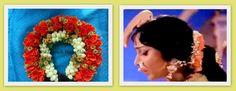 Artificial gajra or veni made with artificial orange petals,artificial jasmine buds and artificial gold roses