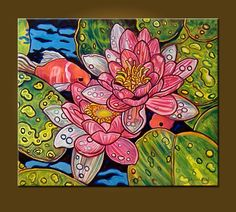 Raindrops and Lilies and Goldfish  20 x 24 inch by ElizabethGraf, $225.00