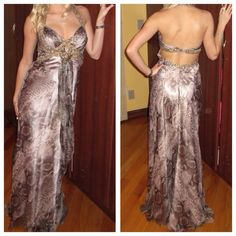 REDUCED Jovani evening gown Limited Edition Snake design print with sparkling jewels, has been altered on the bottom, was a mermaid bottom, been only worn once. Price is negotiable... Jovani Dresses